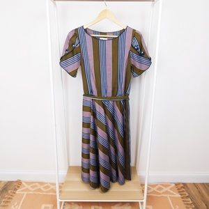 Vintage Brown & Blue Striped Midi Dress